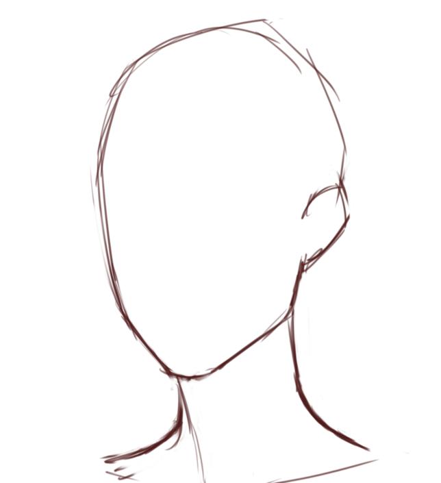 斜めアングルで顔を描く時にベースとなる輪郭は次のような形です。↓