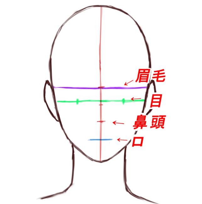 この位置についての詳しい説明は正面顔の描き方にまとめてあります、↓